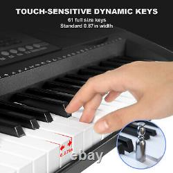 61-Key Digital Piano Electronic Keyboard Portable Headphone Microphone WithStand