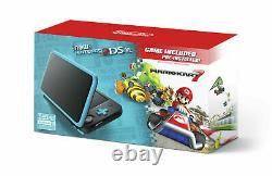 NEW Nintendo 2DS XL Black/Turquoise with Mario Kart 7 Installed (Plays 3DS Games)