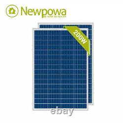 NewPowa High Quality 2pcs 100W 12V Poly Solar Panel 200 Watts Module With 3FT Wire